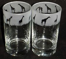 """Hand Etched Pair of """"GIRAFFE HIBALL GLASSES"""" - Beautiful Gift or For Keeps"""