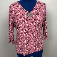 Liz Claiborne Women's Size 3 Petite Floral Print 3/4 Sleeve Beaded