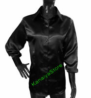 Satin Long Sleeve Shirt Blouse For Girls Lady Casual Office Wear Top - Black