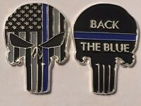 Thin Blue Line Back the Blue Skull Police Challenge Coin, NYPD