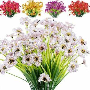 1/5Bundles Artificial Flowers bouquet Outdoor Fake Plastic Plants Garden Decor