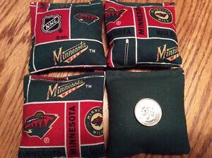 "4  Minnesota Wild (hunter Back)  Mini cornhole bean bags 3"" X 3"" double stitched"
