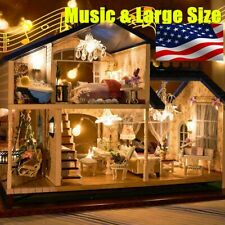 Musical DIY Dollhouse Doll House Miniature Room Kit Toy Furniture Gift US