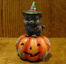 "Jim Shore Heartwood Creek Pint Size #6001548 BLACK CAT ON PUMPKIN, 5"" Halloween"