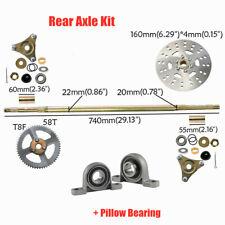 Go Kart Rear Axle Kit Hub 20mm/22mm T8F Sprocket Pillow Bearing Drift Trike Cart