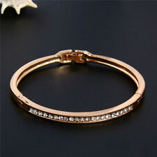 Women Charm Gold-plated Stainless Steel Cuff Bangle Crystal Bracelet Jewelry