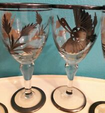 RARE 4 Vintage Sterling Silver Etched Wine Glasses with Bird and Leaves 925