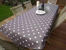 Tischdecke Provence 150x240 cm oval taupe Punkte weiß Frankreich, pflegeleicht