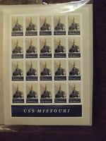 USS Missouri Pane of 20 USPS Mint State, Never Hinged, Never Used, Stamps