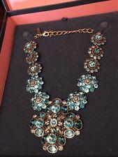 New Oscar De La Renta Large Blue Flower Crystal Statement Necklace