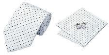 White black Novelty 100% Silk Classic Mens Necktie Tie Hanky Cufflink Set NT13