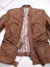 Ladies NEXT tan leather JACKET COAT size UK 8 retro distressed belt safari biker