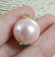 new Round AAA 16mm South Sea pink Shell Pearl 14K GOLD PENDANT