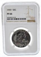 PF66 - 1959 Franklin 90% Silver Half Dollar - NGC From US Mint Set