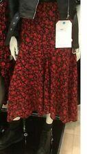Primark Floral black red Ditsy Midi MAXI SKIRT hanky hem Sz 18 EU46 new TRENDING