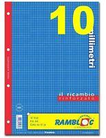 RICAMBIO RINFORZATO QUADRETTI 10mm (UNA SCATOLA DA 40 PEZZI) QUADRETTI 1cm. (A4)