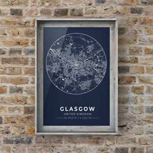 Blue and White Glasgow Map Print - in A4, A3, A2 or A1 size.