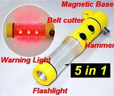 Window Breaker Hammer Flashing LED Beacon Seat Belt Cutter Flashlight, Magnet
