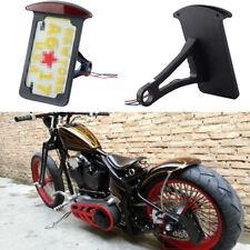 Bobber Chopper Motorcycle Custom Side Mount LED License Plate Bracket Tail Light