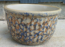 """XLNT Red Wing 7"""" Ribbed Blue & Rust Spongeware Stoneware Mixing Bowl Ovenware?"""