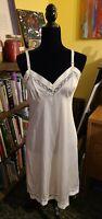 Vintage White Lorraine Full Slip Nylon Lace Hem Lingerie Sz.34
