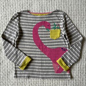 Mini Boden Long Sleeve Shirt Top Girls Size 7-8 Y Striped Pocket Dinosaur