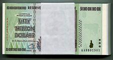 Zimbabwe 50 Trillion Dollars x 50pcs AA 2008 P90 consecutive UNC currency bills