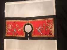 Vintage Chinese Hand Embroidery Large Silk Collar with Bat and Floral Motive
