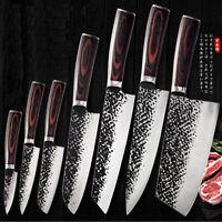 Couteau de cuisine Kiritsuke Chef SET Couteaux de cuisine Forge Manche en bois