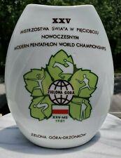 1981 MODERN PENTATHLON WORLD CHAMPIONSHIPS ZIELONA GORA PORCELAIN VASE OLYMPICS