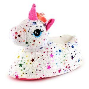 Girls Novelty 3D Plush Rainbow Star Unicorn Slippers
