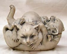 Antique Royal Dux Bohemia Two Fighting Cats signed
