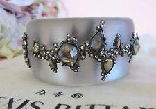Alexis Bittar Imperial Noir Lucite Pyrite & Crystal Lace Wide Bracelet NWT $395