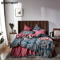 Vintage Quilt/Duvet Cover Set Egyptian Cotton Soft Silky Bedding Set Set 4Pcs