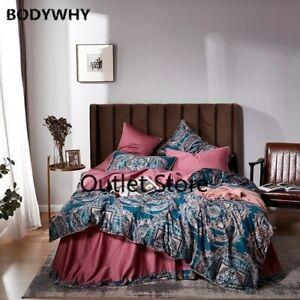 Vintage Quilt/Duvet Cover Set Egyptian Cotton Soft Silky Bedding Set Set 4Pcs