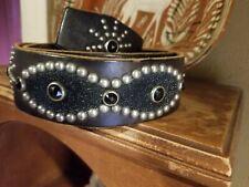 "1950s studded jeweled heavy leather belt Sz 32 ( 29"" - 34"""")"