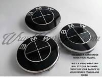 Noir Brillant Badge Emblème Superposé pour BMW Autocollant Coupe Coffre Jantes @