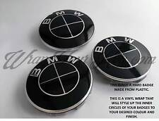 BLACK GLOSS Badge Emblem Overlay FOR BMW Sticker HOOD TRUNK RIMS @FITS ALL BMW@