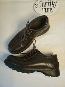 Vtg 90s Skechers Brown Oxford Work Shoes Lace Up Track Sole Leather Mens Sz 10