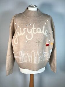 Top Shop Christmas Jumper Fairytale Of New York Oatmeal Sizes XS,S,M,L Brand New