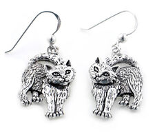 Whimsical Movable Head Kitty Cat Earrings in Solid Sterling Silver