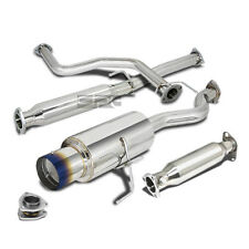 "CIVIC EK9 HATCH BACK STAINLESS CATBACK EXHAUST 4.5"" BURNT MUFFLER TIP+CAT PIPE"