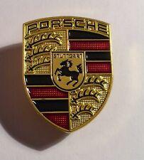 Porsche (Stuttgart) Gold Shield Badge, Hat Pin, Lapel Pin, 2 clutches, Gift