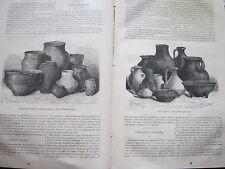 Etudes Céramiques poteries gauloises 1873 Gravure Article de presse