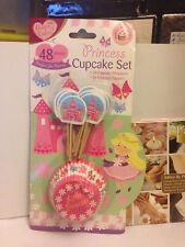 Queen of Cakes Little Princess Cupcake Wrappers + Topper Flags Set 48 Pieces