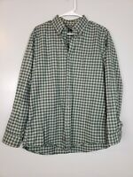 Eddie Bauer Mens Button Down Shirt Size Medium M Green Plaid Long Sleeve Relaxed