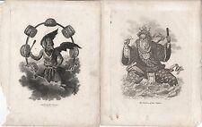 """Antigua China Dioses-su """"Júpiter"""" y """"Neptuno"""" - más de 200 años de edad"""