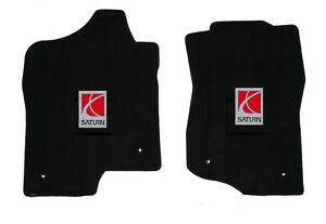 NEW! Black Floor Mats 2002-2009 Saturn VUE with Embroidered Logo, Both Front Set