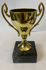 Gold Cast Metal Cup Trophy With Marble Base 12cm Free Engraving