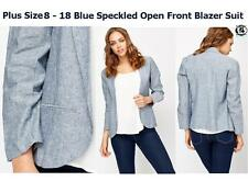 LADIES PLUS SIZE8-18 BLUE SMART BLAZER SUIT SUMMER PASTEL COLOUR JACKET COAT TOP